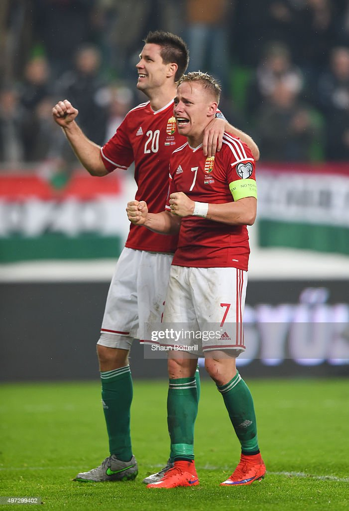 Captain Balazs Dzsudzsak #7 and Richard Guzmics of Hungary celebrate their team's 2-1 victory and qualification following the UEFA EURO 2016 Qualifier Play-Off, second leg match between Hungary and Norway at Groupama Arena on November 15, 2015 in Budapest, Hungary.