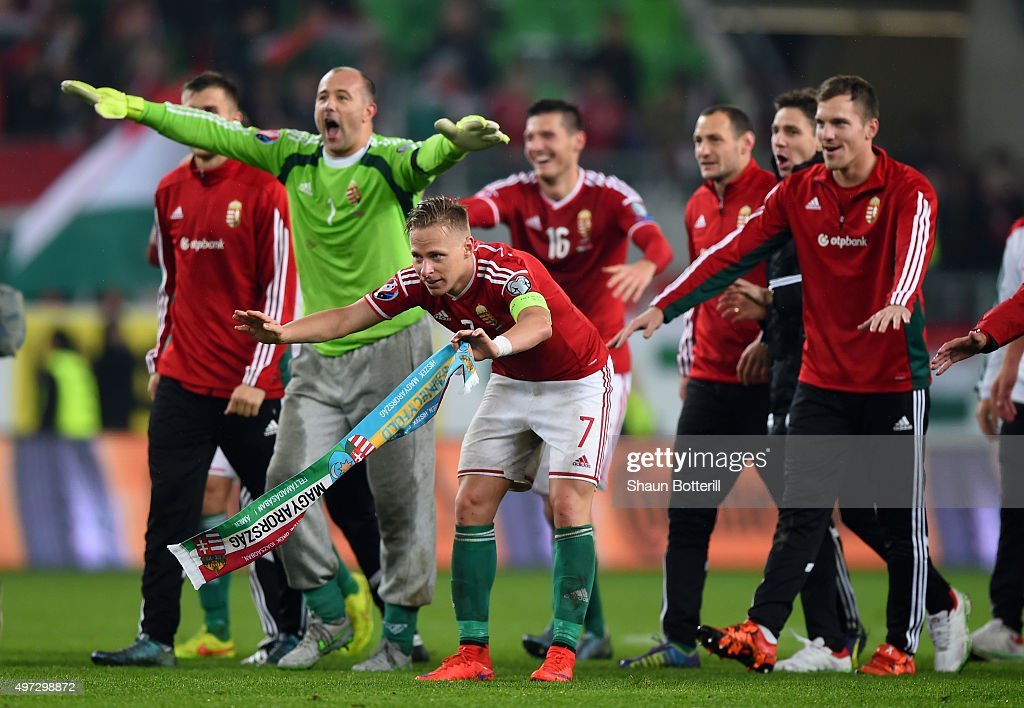 Captain Balazs Dzsudzsak #7 of Hungary and his players celebrate their 2-1 victory and qualification following the UEFA EURO 2016 Qualifier Play-Off, second leg match between Hungary and Norway at Groupama Arena on November 15, 2015 in Budapest, Hungary.