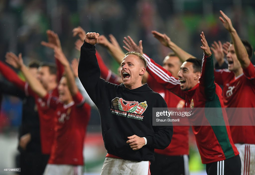 Captain Balazs Dzsudzsak of Hungary and his players celebrate their 2-1 victory and qualification following the UEFA EURO 2016 Qualifier Play-Off, second leg match between Hungary and Norway at Groupama Arena on November 15, 2015 in Budapest, Hungary.