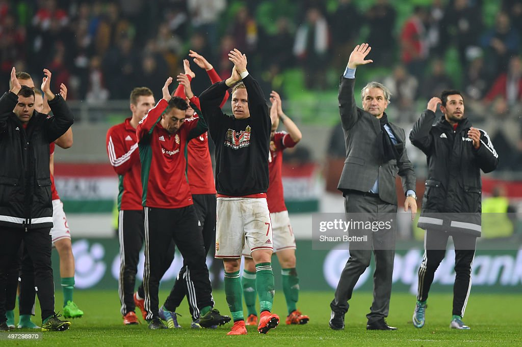 Captain Balazs Dzsudzsak #7 of Hungary, Bernd Stock the head coach of Hungary and the players celebrate their 2-1 victory and qualification following the UEFA EURO 2016 Qualifier Play-Off, second leg match between Hungary and Norway at Groupama Arena on November 15, 2015 in Budapest, Hungary.