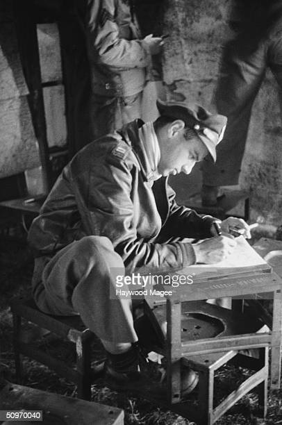 Captain Barnard a member of the American 9th Airforce writes an optimistic letter to his wife from his base in Normandy 26th August 1944 The men of...