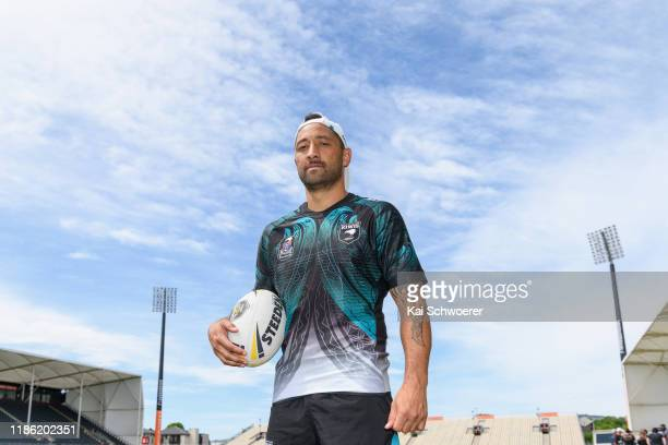 Captain Benji Marshall poses following a New Zealand Kiwis Rugby League training session at Orangetheory Stadium on November 08, 2019 in...