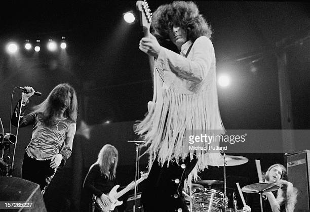 Captain Beyond performing at the Roundhouse Camden London 4th May 1972 Left to right Rod Evans Lee Dorman Larry Reinhardt and Bobby Caldwell