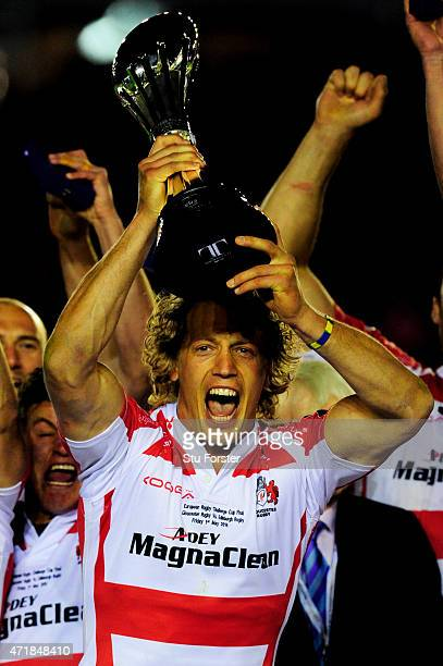 Captain Billy Twelvetrees of Gloucester lifts the trophy following his team's victory during the European Rugby Challenge Cup Final match between...