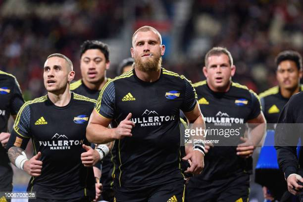 Captain Brad Shields of the Hurricanes and his team mates look on priorthe Super Rugby Semi Final match between the Crusaders and the Hurricanes at...