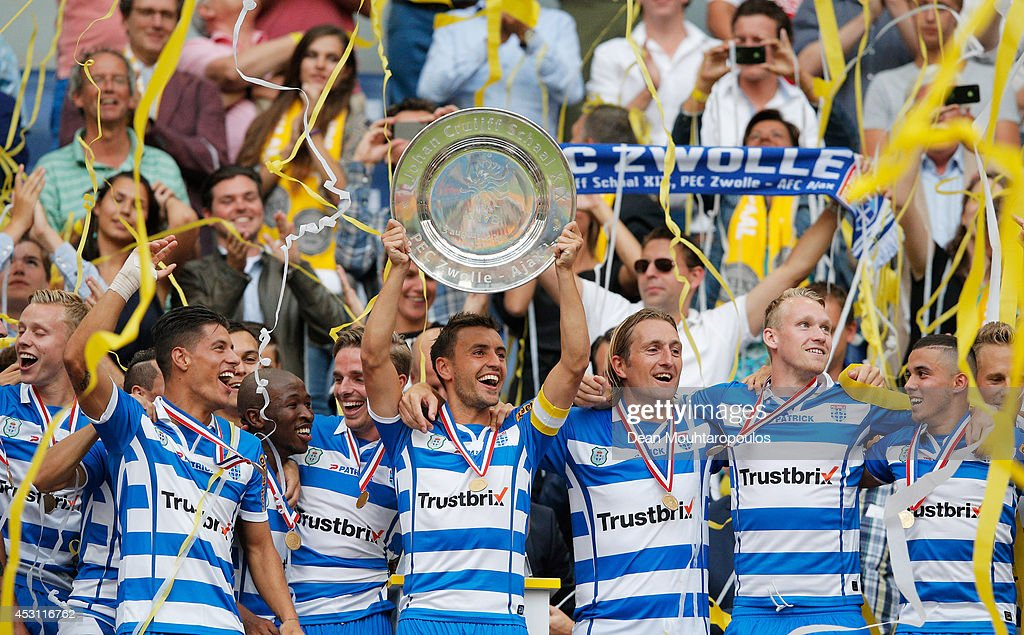 Captain, Bram van Polen of Zwolle lifts the trophy after winning the 19th Johan Cruijff Shield match between Ajax Amsterdam and PEC Zwolle at the Amsterdam ArenA on August 3, 2014 in Amsterdam, Netherlands.