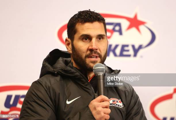 Captain Brian Gionta of the USA men's hockey team speaks to the media during the second intermission in the 2018 Bridgestone NHL Winter Classic...