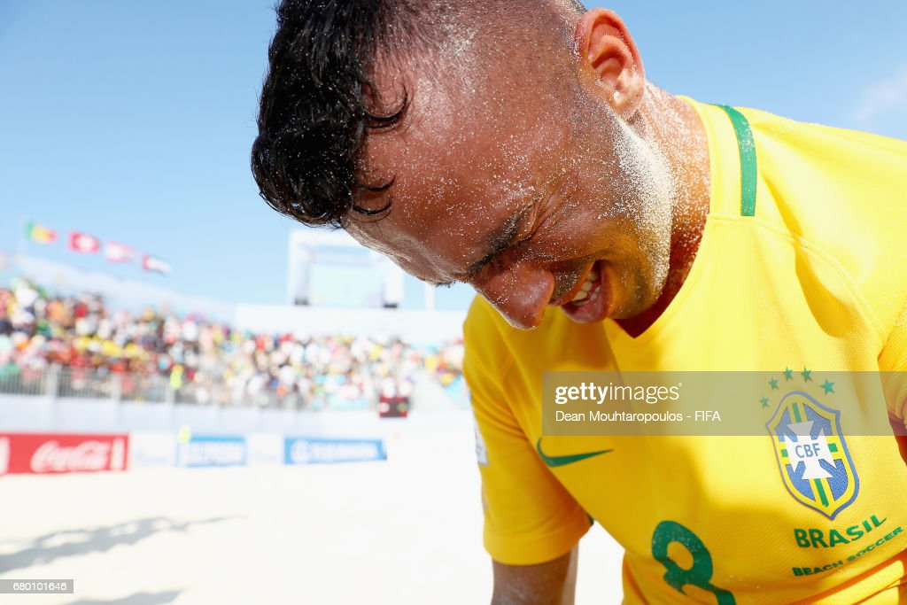 Captain, Bruno Xavier of Brazil starts to cry at the final whistle as he starts celebration after victory in the FIFA Beach Soccer World Cup Bahamas 2017 final between Tahiti and Brazil at National Beach Soccer Arena at Malcolm Park on May 7, 2017 in Nassau, Bahamas.
