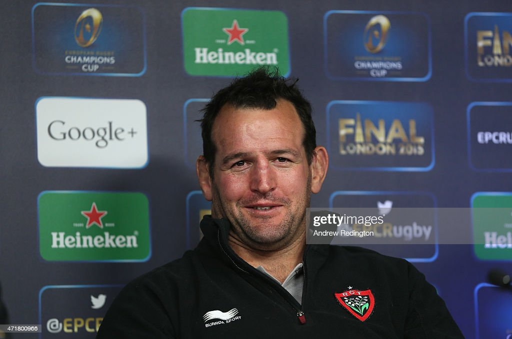 Captain Carl Hayman talks to the media during the European Rugby Champions Cup Press Conference at Twickenham Stadium on May 1, 2015 in London, England.