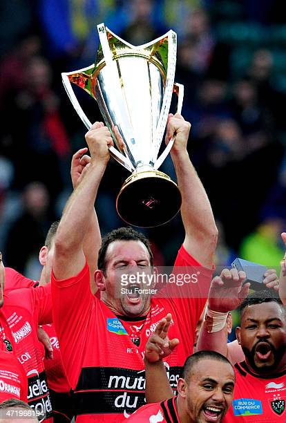 Captain Carl Heyman of Toulon lifts the trophy during the European Rugby Champions Cup Final match between ASM Clermont Auvergne and RC Toulon at...