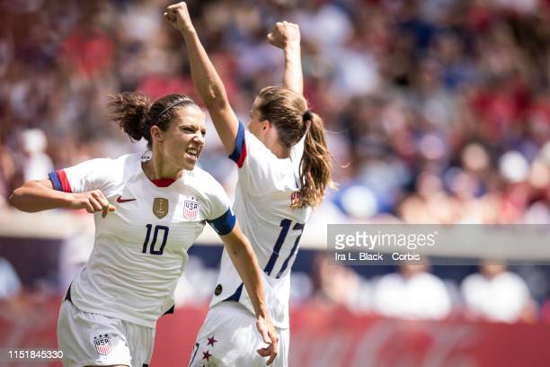 Captain Carli Lloyd of United States celebrates scoring goal during the International Friendly match the US Women's National Team and Mexico as part...