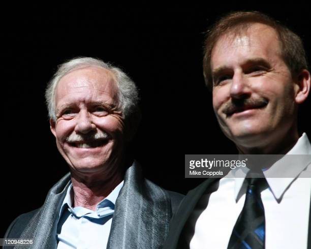 Captain Chesley Sully Sullenberger and First Officer Jeff Skiles visit Chicago on Broadway at the Ambassador Theatre on February 9 2009 in New York...