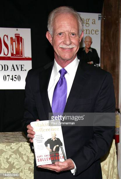 """Captain Chesley """"Sully"""" Sullenberger visits at Bookends on May 15, 2012 in Ridgewood, New Jersey."""