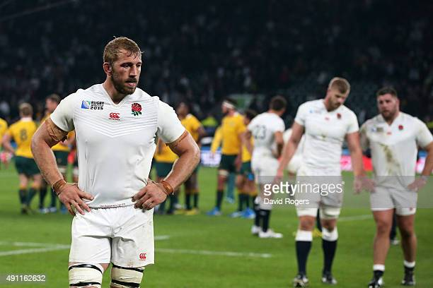 Captain Chris Robshaw of England walks off dejected during the 2015 Rugby World Cup Pool A match between England and Australia at Twickenham Stadium...