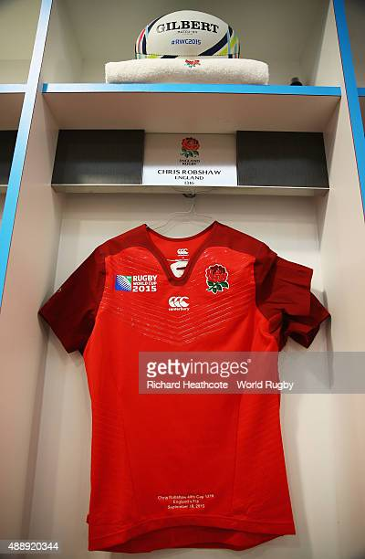 Captain Chris Robshaw of England's shirt hangs in the dressing room prior to the 2015 Rugby World Cup Pool A match between England and Fiji at...