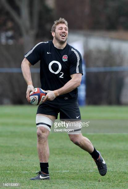 Captain Chris Robshaw passes the ball during the England training session at Loughborough University on February 29 2012 in Loughborough England