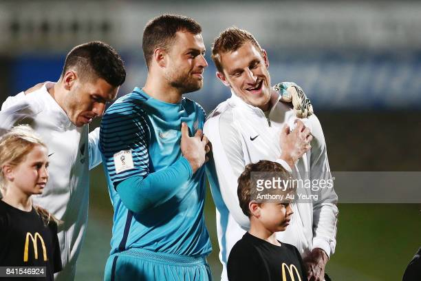 Captain Chris Wood and goal keeper Stefan Marinovic of New Zealand shares a laugh at the lineup prior to the 2018 FIFA World Cup Qualifier match...