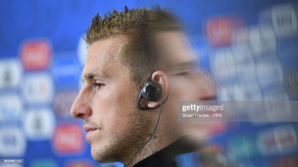 Captain Chris Wood has a moments reflection during a press conference after a training session of the New Zealand national football team on June 23, 2017 in Saint Petersburg, Russia.