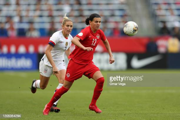 Captain Christine Sinclair controls the ball during the Final game between Canada and United States as part of the 2020 CONCACAF Women's Olympic...