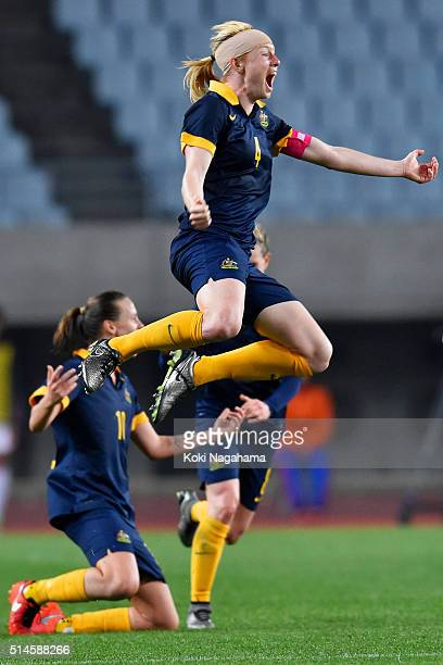 Captain Clare Polkinghorne of Australia celebrates her team's qualification for the Rio de Janeiro Olympic after her team's 21 win in the AFC Women's...