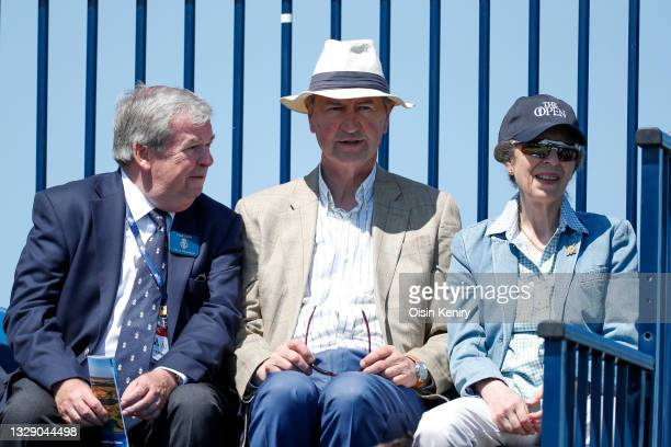 Captain Clive Edginton talking to Princess Anne, Princess Royal and her husband Sir Timothy Laurence during Day Two of The 149th Open at Royal St...