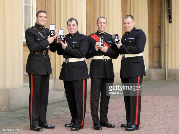 Captain Colin Lunn with his Military Cross Lance Corporal Andrew Wardle with his Military Cross Sergeant John Swithenbank with his Queen's Gallantry...