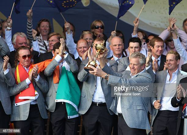 Captain Colin Montgomerie holding the Ryder Cup Trophy during the Closing Ceremonies of the 38th Ryder Cup at the Twenty Ten Course at Celtic Manor...