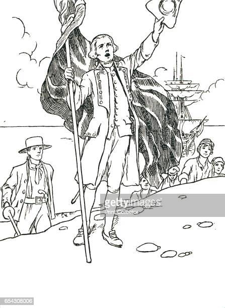 Captain Cook Landing in Australia 1912 Captain Cook in naval uniform landing at Botany Bay on Sunday 29 April 1770 Cook made three voyages of...