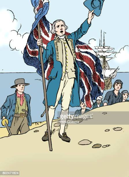 Captain Cook Landing in Australia' 1912 Captain Cook in naval uniform landing at Botany Bay on Sunday 29 April 1770 Cook made three voyages of...