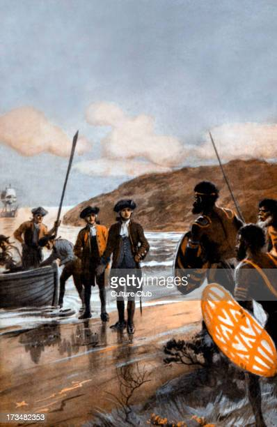Captain Cook's first landing at Botany Bay NS Wales 1770 Illustration by George Soper