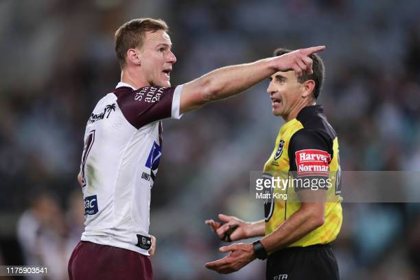 Captain Daly Cherry-Evans of the Sea Eagles argues with referee Gerard Sutton after Jake Trbojevic was sent to the bin late in the game during the...