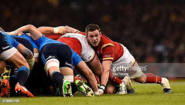 Captain Dan Lydiate of Wales in action during the RBS Six Nations match between Wales and Italy at the Principality Stadium on March 19 2016 in...