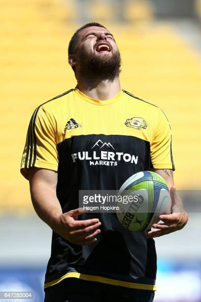 Captain Dane Coles of the Hurricanes enjoys a laugh during the Wellington Hurricanes captain's run at Westpac Stadium on March 3 2017 in Wellington...