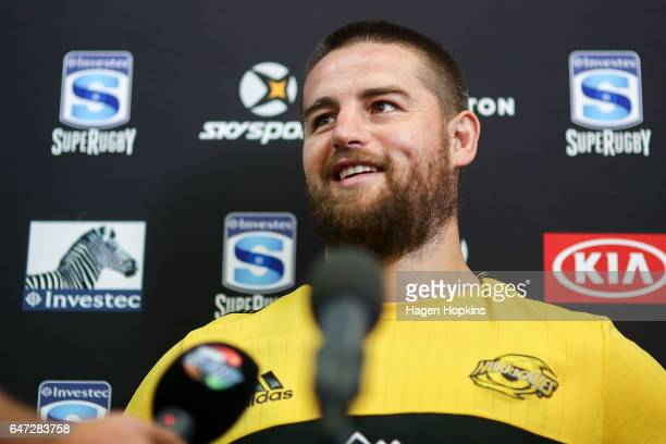 Captain Dane Coles of the Hurricanes speaks to media during the Wellington Hurricanes captain's run at Westpac Stadium on March 3 2017 in Wellington...