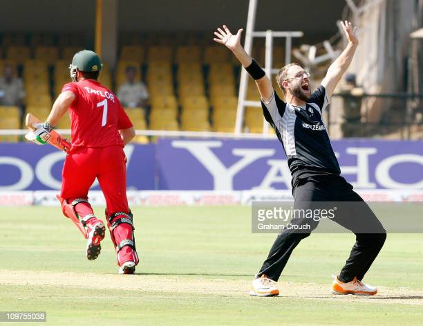 Captain Daniel Vettori of New Zealand appeals for the wicket of Regis Chakabva of Zimbabwe in the 2011 ICC World Cup Group A match between New...