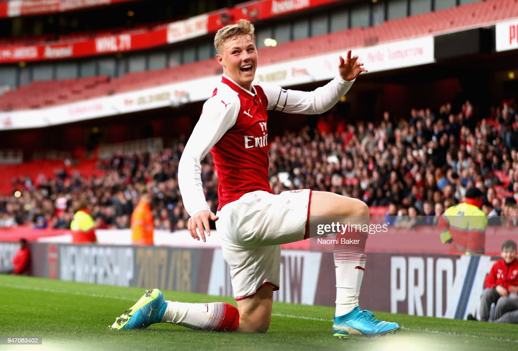 Captain Danny Bullard of Arsenal celebrates after scoring his sides second goal during the FA Youth Cup Semi Final 2nd Leg match between Arsenal and Blackpool at Emirates Stadium on April 16, 2018 in London, England.