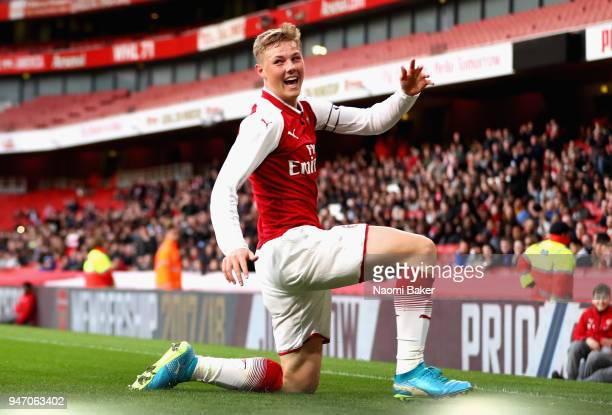 Captain Danny Bullard of Arsenal celebrates after scoring his sides second goal during the FA Youth Cup Semi Final 2nd Leg match between Arsenal and...