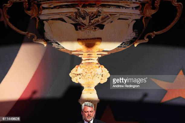 Captain Darren Clarke of Europe speaks during the 2016 Ryder Cup Opening Ceremony at Hazeltine National Golf Club on September 29 2016 in Chaska...