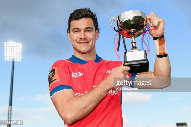 Captain David Havili of Tasman poses with the Lionel Hunter Trophy after the win in the round two Mitre 10 Cup match between Canterbury and Tasman at...