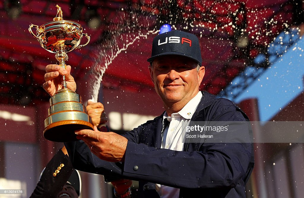 captain Davis Love III of the United States celebratesduring the closing ceremony of the 2016 Ryder Cup at Hazeltine National Golf Club on October 2, 2016 in Chaska, Minnesota.