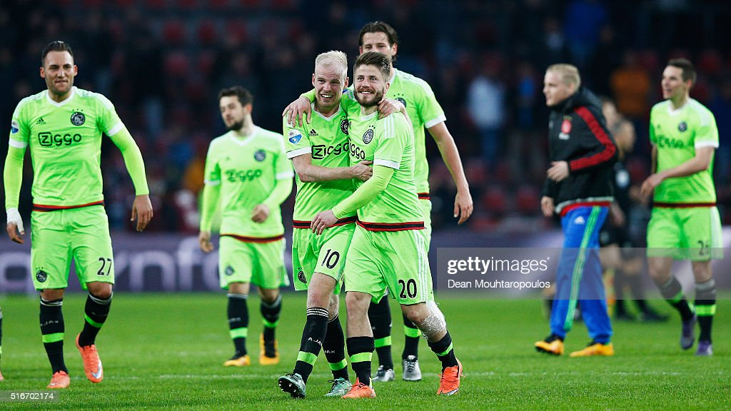 Captain, Davy Klaassen #10 of Ajax leads the team celebrations after victory in the Eredivisie match between PSV Eindhoven and Ajax Amsterdam held at Philips Stadium on March 20, 2016 in Eindhoven, Netherlands.