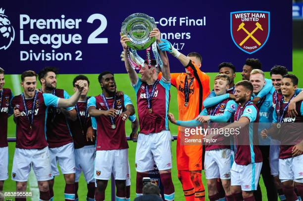 Captain Declan Rice of West Ham holds up the Premier League 2 trophy after West Ham win the Premier League 2 PlayOff Match between Newcastle United...