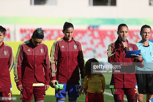 Captain Deyna Castellanos of Venezuela makes a speech as part of the FIFA Fair Play Day during the FIFA U17 Women's World Cup Jordan 2016 Semi Final...