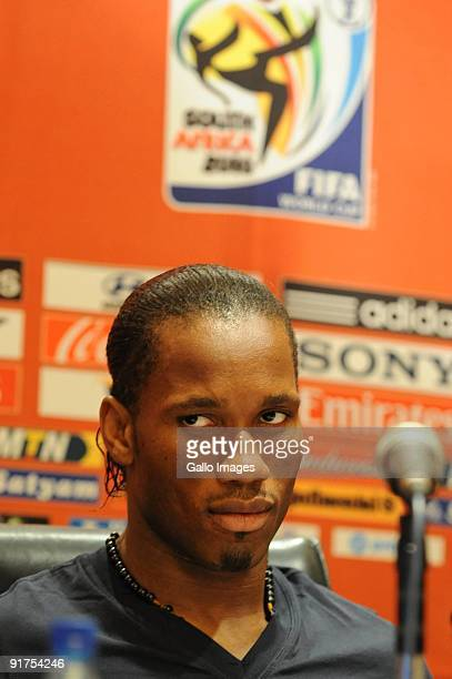 Captain Didier Drogba attends the Ivory Coast Press Conference from the Inter Continental Hotel on 11 October 2009 in Johannesburg South Africa Ivory...