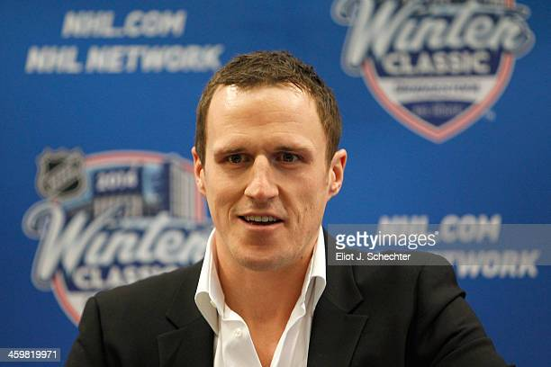 Captain Dion Phaneuf of the Toronto Maple Leafs attends a press conference to announce his 7year contract extension with the Maple Leafs at the start...