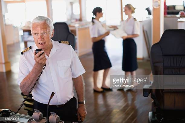 Captain doing a radio message