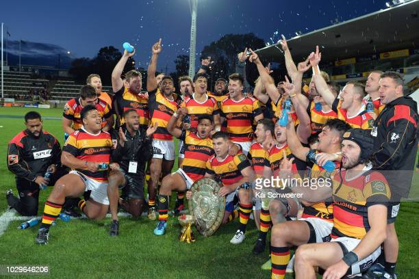 Captain Dwayne Sweeney of Waikato and his team mates celebrate their win in the round four Mitre 10 Cup Ranfurly Shield match between Taranaki and...