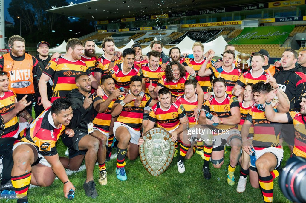 Captain Dwayne Sweeney of Waikato (C) and his team mates pose with the Ranfurly Shield after their win in the round four Mitre 10 Cup Ranfurly Shield match between Taranaki and Waikato at Yarrow Stadium on September 9, 2018 in New Plymouth, New Zealand.
