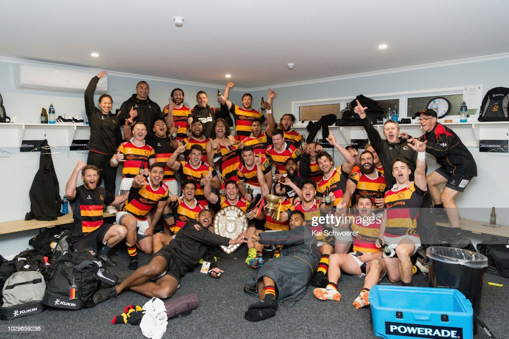Captain Dwayne Sweeney of Waikato and his team mates pose with the Ranfurly Shield after their win in the round four Mitre 10 Cup Ranfurly Shield match between Taranaki and Waikato at Yarrow Stadium on September 9, 2018 in New Plymouth, New Zealand.