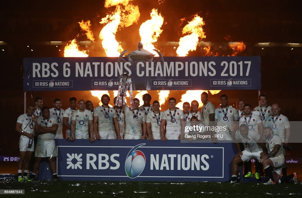Captain Dylan Hartley of England lifts the Six nations trophy following the RBS Six Nations match between Ireland and England at the Aviva Stadium on March 18, 2017 in Dublin, Ireland.